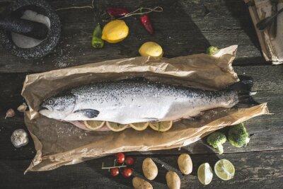Nálepka Příprava celou lososovitých ryb na vaření