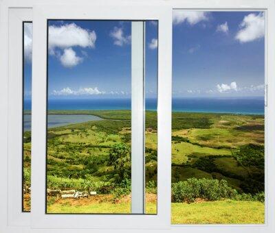 Nálepka přírody krajiny s výhledem oknem