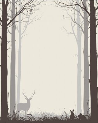 Nálepka přirozeného pozadí s siluety stromů a zvířat