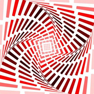 Nálepka Provedení červené točit pozadí pohybu iluzi. Abstrakt proužek