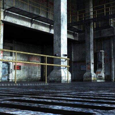 Nálepka Průmyslová místnost technického odboru železnými dveřmi, sloupců a kovových prvků
