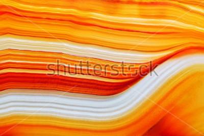 Nálepka Průřez přírodního průsvitného achátový krystalový povrch, oranžová abstraktní struktura plátek minerální kámen makro detailní