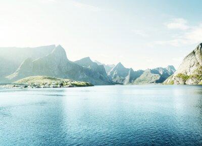 Nálepka pružina západ slunce - Reine, Lofoten ostrovy, Norsko