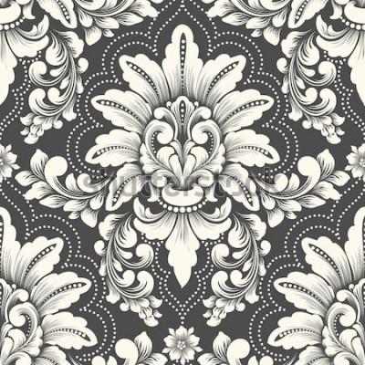 Nálepka Prvek vektoru damaškové bezešvé vzor. Klasický luxusní staromódní damaškový ornament, královská viktoriánská bezešvá textura pro tapety, textil, balení. Vynikající květinové barokní šablona.