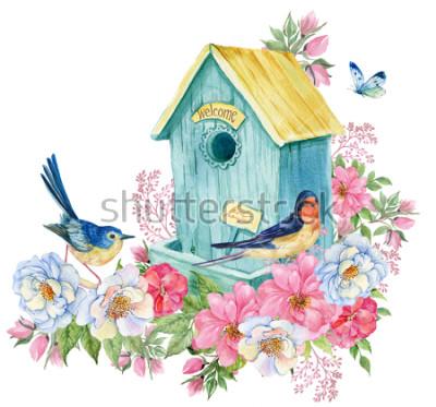 Nálepka Ptačí dům, polykat a modrý pták, motýl. Ilustrace akvarelu na jarní kartu
