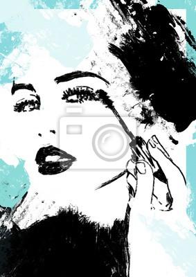 Nálepka Putting on make up. Girl or woman put on cosmetics.