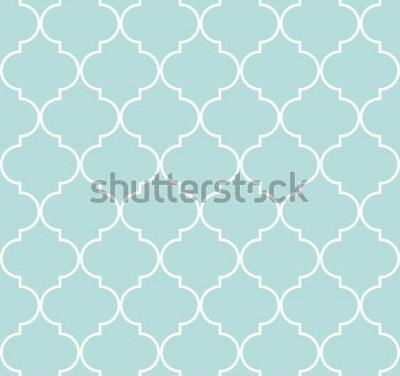 Nálepka Quatrefoil geometrický vzor bezešvé, pozadí, vektorové ilustrace v mátově modré, měkké tyrkysové barvy a bílé.