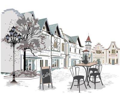 Nálepka Řada pouličních kaváren ve starém městě