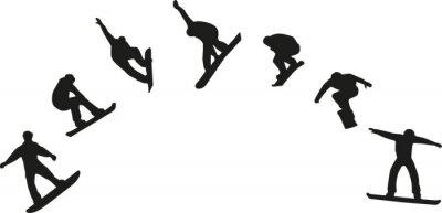 Nálepka Řada snowboardových siluety skákání