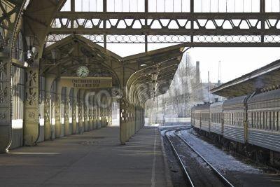Nálepka Railroad station platform with a hanging clock and