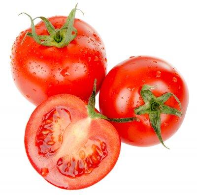 Nálepka rajčata s vodní kapky na bílém pozadí
