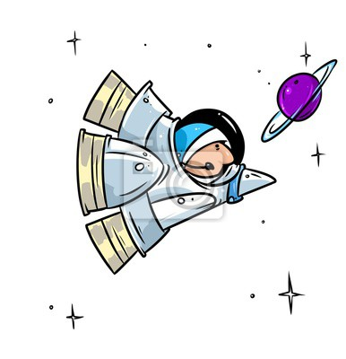 Raketa Let Do Vesmiru Astronaut Kreslene Ilustrace Nalepky Na