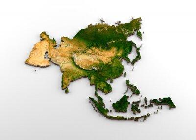 Nálepka Realistická 3D extrudovaná mapa asijského kontinentu (včetně indického subkontinentu, východní Asie, Ruska a Středního východu)