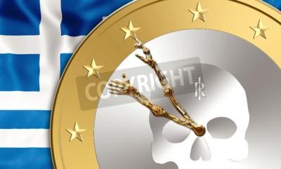 Řeckou vlajkou a mince eura se skeletem paží, jelikož hodinových ručiček uvnitř. Finance koncepce pro opuštění měnu euro, debetních, úpadku a šetří čas krátí