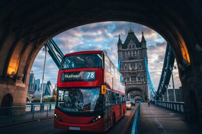 Nálepka Red double decker bus at the Tower Bridge in London