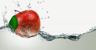 Nálepka Red,juicy Apple in a spray of water.