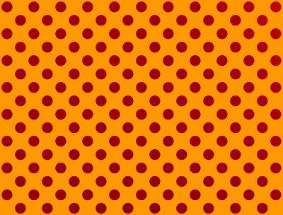 Nálepka red polka dot na oranžovém pozadí