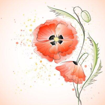 Nálepka Red Poppy Bouquet