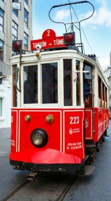 Nálepka Red retro tramvaje na Taksim ulice Istiklal