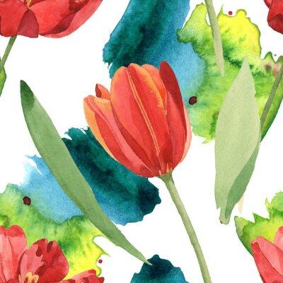 Nálepka Red tulip floral botanical flowers. Watercolor background illustration set. Seamless background pattern.