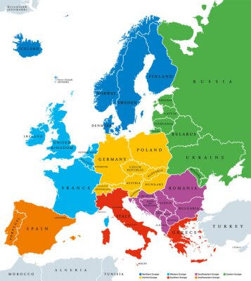 Nálepka Regions of Europe, political map, with single countries and English labeling. Northern, Western, Southeastern, Eastern, Central, Southern, Southwestern Europe in different colors. Illustration. Vector