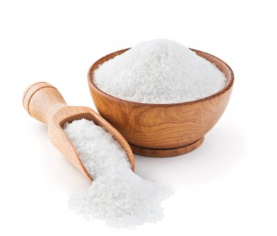 Nálepka Regular table salt in a wooden bowl