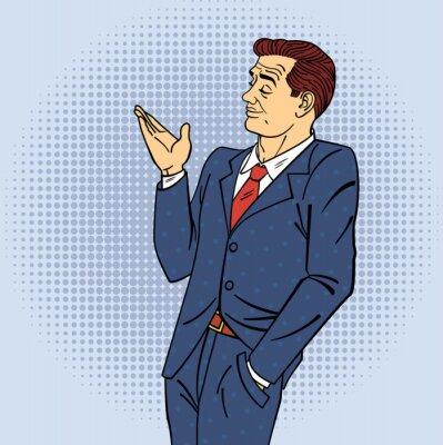 Nálepka Reklama Man in stylu pop art ukazující ruka na vašem produktu