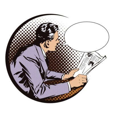 Nálepka Reklamní ilustrace. Lidé v retro stylu pop artu a vintage reklamy. Muži s novinami. Bublinu.
