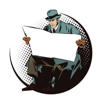 Nálepka Reklamní ilustrace. Lidé v retro stylu pop artu a vintage reklamy. Sedící muž s novinami. Noviny pro váš text.