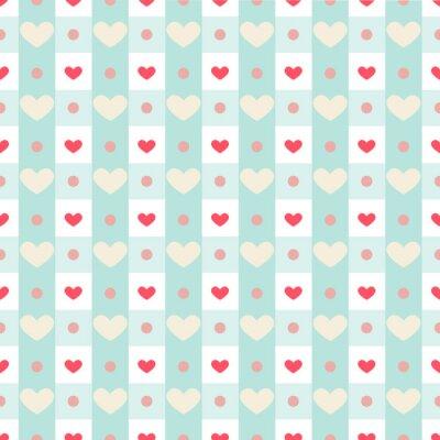 Nálepka Retro bezproblémové vzorek s malými srdce na gingham pozadí