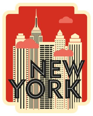 Nálepka Retro design poster New York. Skyscrapers and clouds. Vector drawing