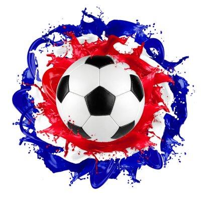 Nálepka retro fotbalový míč francouzská vlajka barva stříkající
