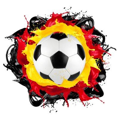 Nálepka retro fotbalový míč Německá vlajka barva stříkající