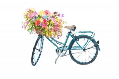 Nálepka Retro modré kolo s květem na bílém pozadí, akvarel ilustrátor, kolo umění