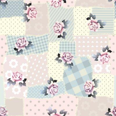 Nálepka Retro patchwork s růží.
