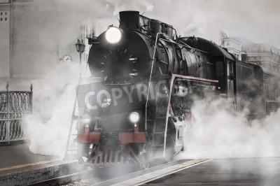 Nálepka Retro steam train departs from the railway station