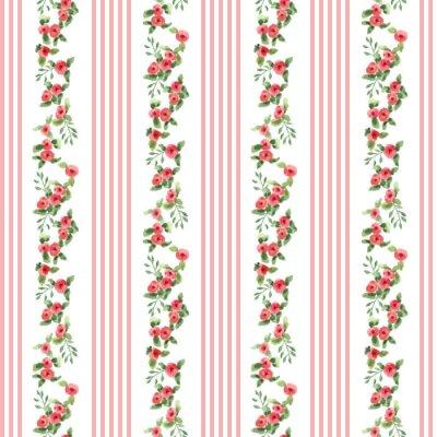 Nálepka retro stylu květinovým vzorem s proužky