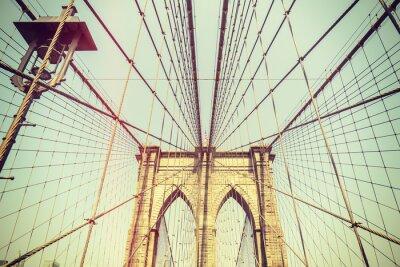 Nálepka Retro tónovaný obraz Brooklynský most, NYC.