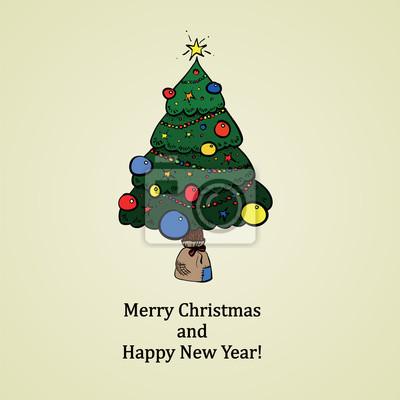 Retro vánoční karta s strom