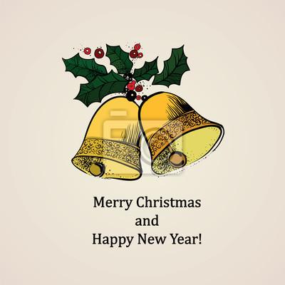 Retro vánoční přání s rolničkami