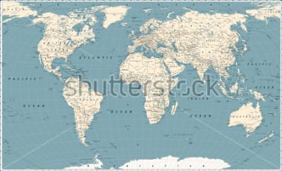 Nálepka Retro World Map and Main State Roads. Large Detailed World Map vector illustration.