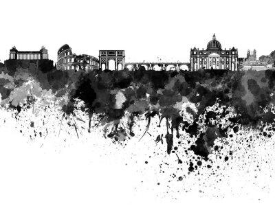 Nálepka Řím panorama v černé akvarel