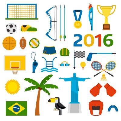 Nálepka Rio letní olympijské hry ikony ilustrace