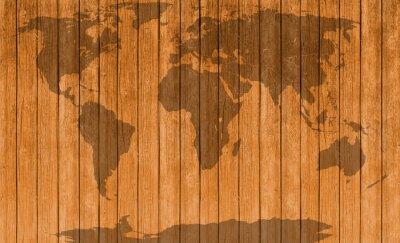 Nálepka ročník mapa dřevěné textury pozadí