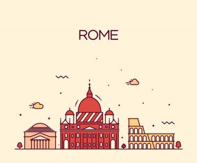 Nálepka Rome City Skyline podrobně vektor řádka umělecký styl