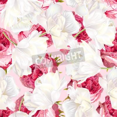 Nálepka Rose tulip seamless pattern