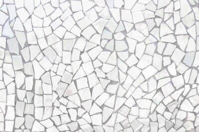 Nálepka Rozbité dlaždice mozaiky bezešvé vzor. Bílé a šedé obklady stěn s vysokým rozlišením skutečné fotografie nebo cihla bezešvé a textura interiéru pozadí.