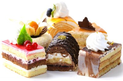 Nálepka Rozmanité různé mini koláče se smetanou, čokoláda a jahody