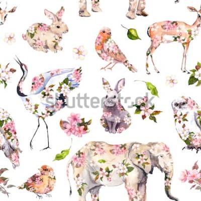 Nálepka Roztomilá zvířata v růžové jarní květy. Květinový vzor bezešvé. Ženský, holčičí akvarel