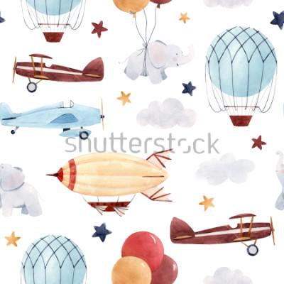 Nálepka Roztomilé děti akvarel vzor. Tapeta pro chlapce, hvězdnou oblohu s aerostatem, dirigible a letadla, sloni a balóny.